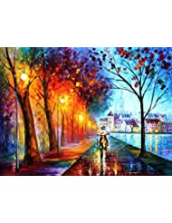 City By The Lake Is An Oversized One Of A Kind Original Oil Painting On Canvas By Leonid Afremov
