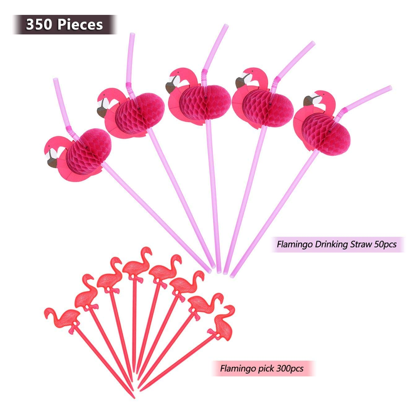 LGDehome 350 Pieces Cute Flamingo Picks Pink Cocktail Picks with Flamingo Drinking Straws Rose Bendable Cocktail Straws for Tropical Party Birthday Wedding Tableware Decoration by LGDehome (Image #1)