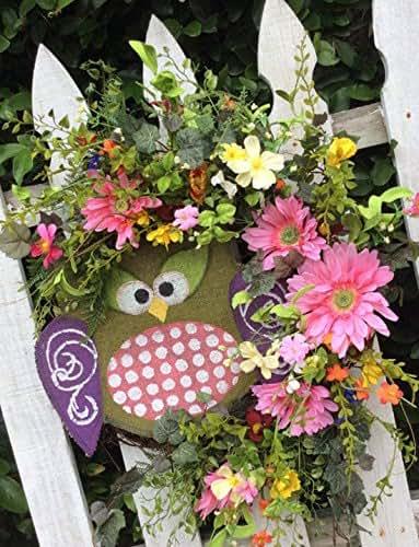 amazoncom owl wreath mothers day wreath pink daisy