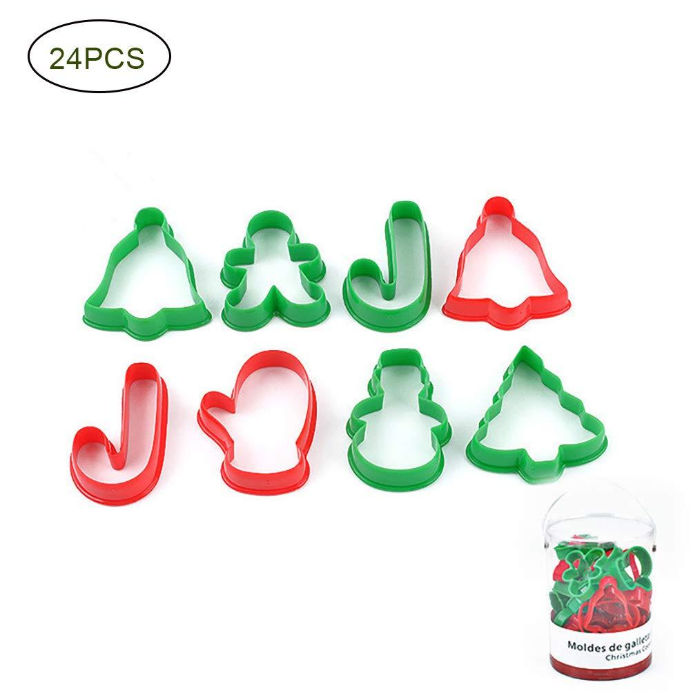 Mrafufy Natale Stampo taglierina dei Biscotti di PP di Alta qualità 1 Set 24 Loaded Decorazione dell'albero di Natale, Festa, Natale