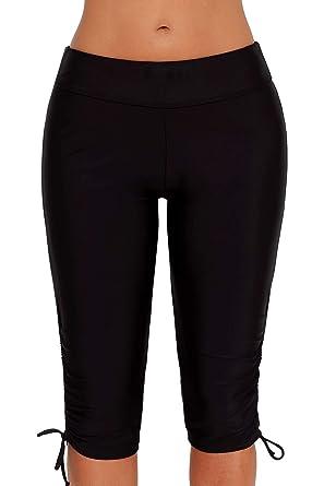 aa3d1b0131f07 Amazon.com: Urchics Womens Plus Size Rash Guard Capris Long Swim Shorts  Tankini Bottom: Clothing