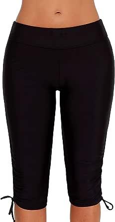 QUEENIE VISCONTI Women Swim Boy Shorts Waistband Boardshorts Swimsuits Pants Black Plus Size