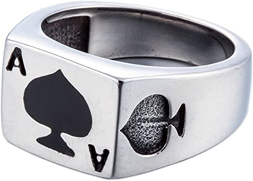 Fashion Stainless Steel Jewelry Black Spinner Signet JEWURA Biker Ring