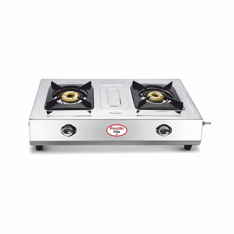 buy preethi elda stainless steel 2burner gas stove online at low prices in india amazonin