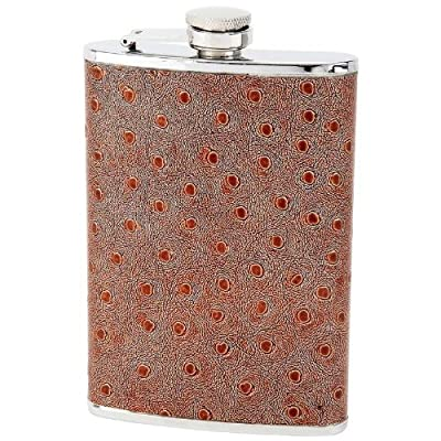 Maxam KTFLOST8 8oz Stainless Steel Flask with Faux Ostrich Leather Wrap