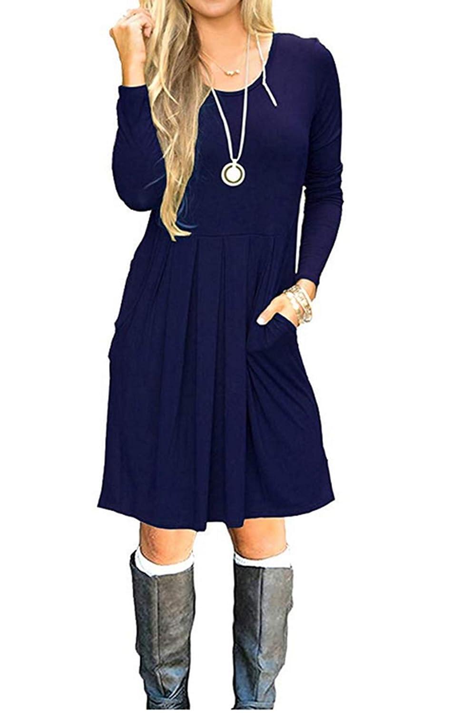 Midnight bluee HUALAIMEI Women's Long Sleeve Casual Dress with Pockets