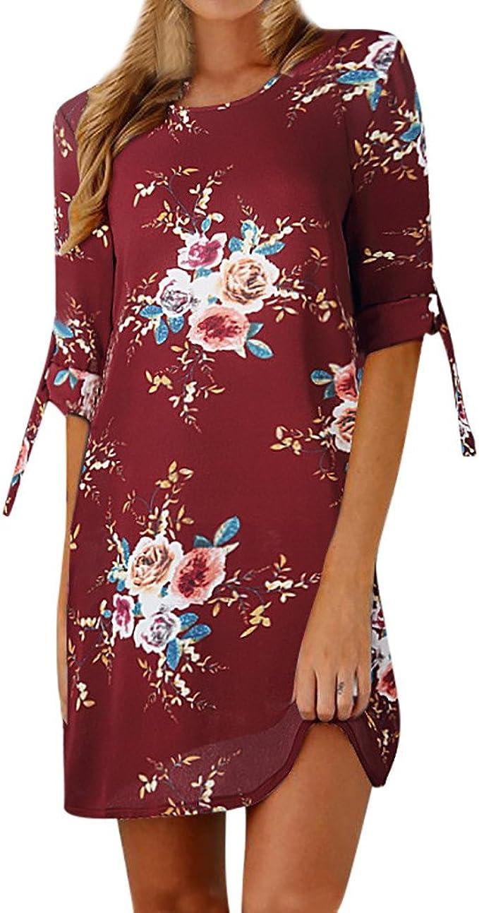 Frauen Kleid Damen Urlaub Kleid Freizeit Figurbetont Sommerkleid Abend