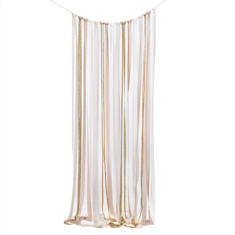 Ling's moment Nude Glitter Chiffon Ribbon Garland Backdrop DIY KIT for Neutral Wedding Backdrop Ceremony Stage Decor Fabric Tassel Garland Decor