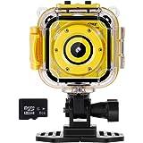 Rovtop Niño Cámara Deportiva - Kid Cámara de Acción Impermeable1080p Pantalla LCD de 1.77
