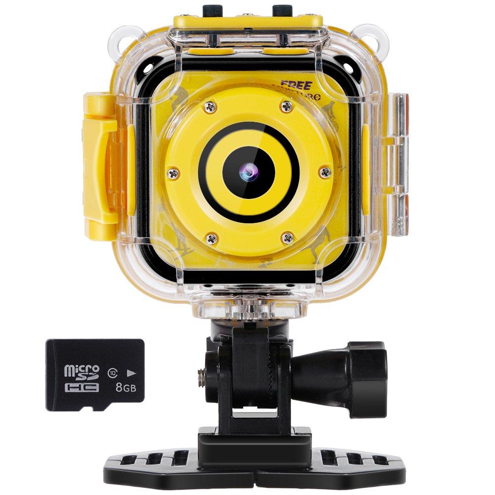 Rovtop Niño Cámara Deportiva - Kid Cámara de Acción Impermeable1080p Pantalla LCD de 1.77 para Niños con Video Recorder Incluye Tarjeta de Memoria de 8GB (Amarillo)