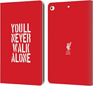 Head Case Designs Officially Licensed Liverpool Football Club Stencil Red Liver Bird YNWA PU Leather Book Wallet Case Cover Compatible with Apple iPad 9.7 2017 / iPad 9.7 2018