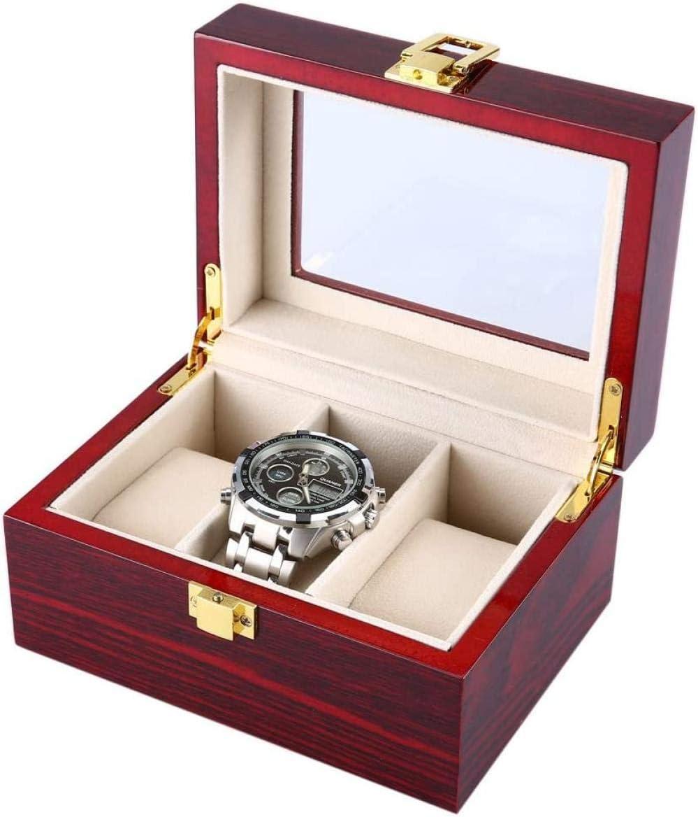 3 Rejillas Caja de Reloj de Madera Cubierta Transparente Caja de joyería Organizador Reloj Caja de presentación Uptodate