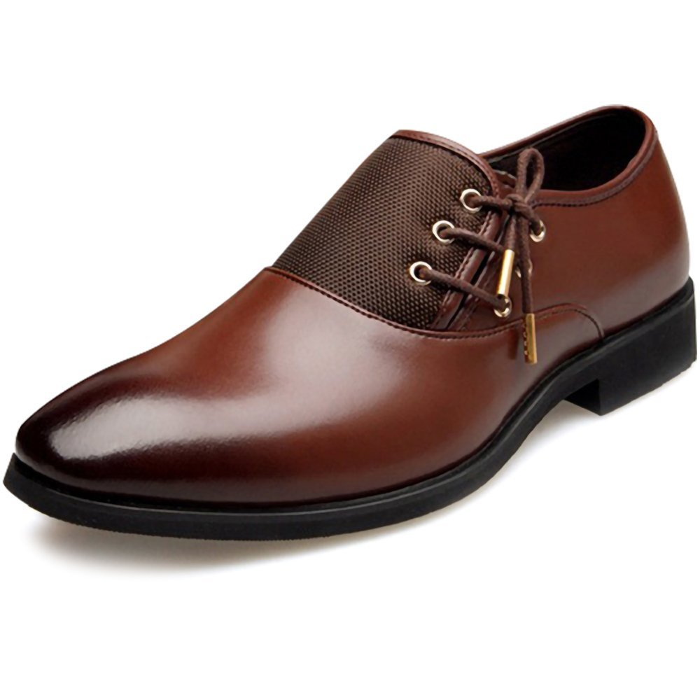 New 2018 Fashion Polyurethane Leather Dress Shoes for Men Formal Spring Pointed Toe Wedding Business Shoes Male with Lace (Men's 8.5 = Women's 9.5 / EU 42, Brown Gold Lace) by Jacky's Oxfords Shoes