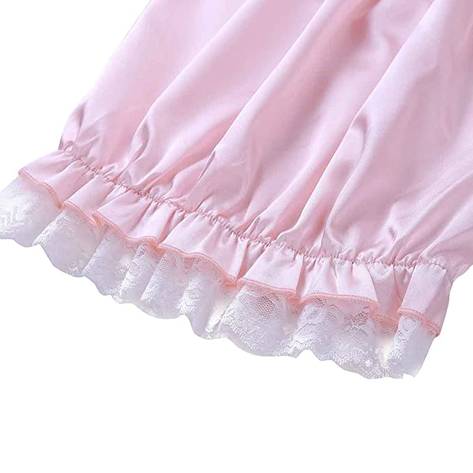 2346891d2e35 YiZYiF Men's Frilly Satin Underwear Sissy Crossdress Maid Bloomer Granny  Panties Pink X-Large(Waist 27.0-53.0