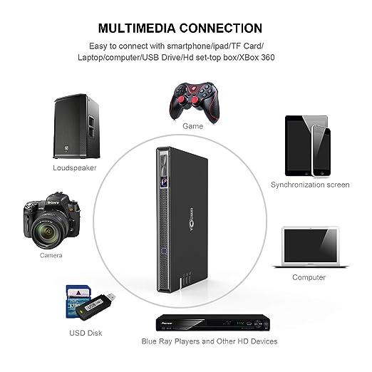 TOUMEI T5 Mini Proyector, Proyector Portatil WiFi 200 ANSI lúmenes ...