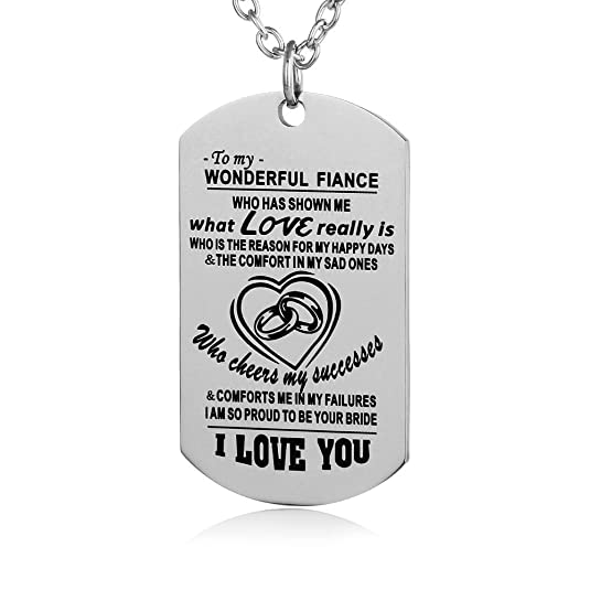 Amazon FAYERXL Boyfriend Gifts Ideas Fiance Dog Tag Necklace From Fiancee Girlfriend Anniversary Birthday Gift Jewelry