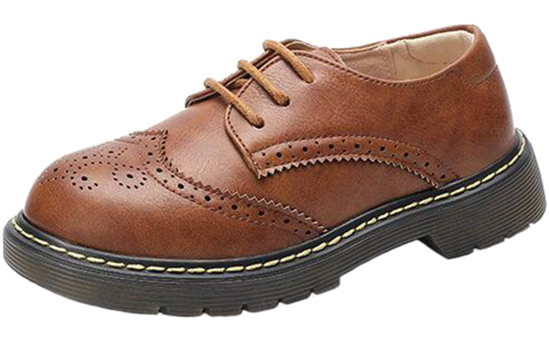PPXID Boy's Girl's British Style Leather School Uniform Brogue Lace up Oxford Shoes-Brown 11.5 US Size