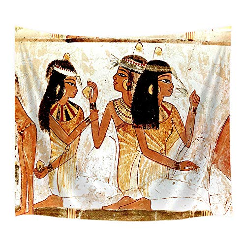 JAWO Egyptian Tapestry Wall Hanging, Ancient Egyptian Papyrus Mural Woman, Polyester Fabric Wall Tapestry for Home Living Room Bedroom Dorm Decor 80W X 60L Inches