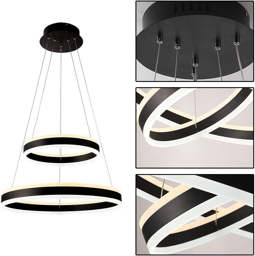 LQST Acrylic Circular Pendant Light Modern Stylish Design LED Dimmable Chandelier 2-Ring Adjustable Hanging Ceiling Light,60W Yellow Light+60W White Light Black