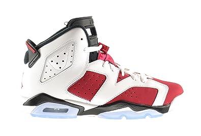 huge selection of 76950 e297f Jordan Air Retro 6 BG Big Kids Shoes White/Carmine-Black 384665-160