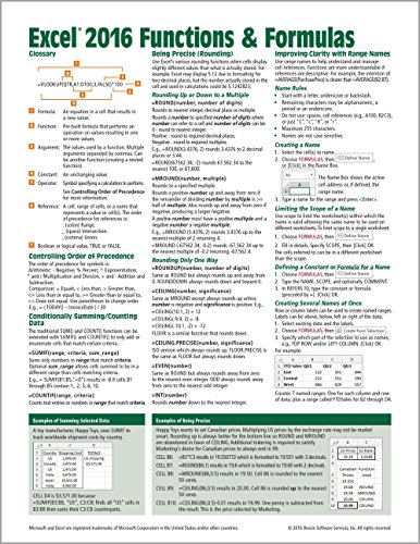 Microsoft Excel 2016 Functions & Formulas Quick Reference Card - Windows Version (4-page Cheat Sheet focusing on examples and context for ... functions and formulas- Laminated Guide) ()