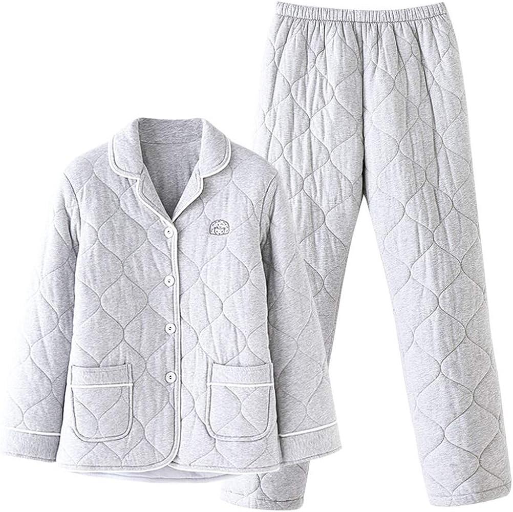 Pijamas de Mujer Pijamas De Invierno Pijamas Gruesos De Tres Capas Cálidos Pijamas De Algodón De Manga Larga Traje De Algodón Casuales Ropa Casual (Color : Gray, Size : M): Amazon.es: Ropa