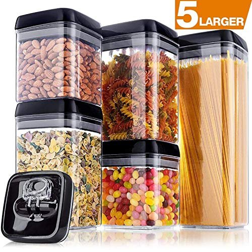 Larger Storage Container, [5-Piece] Senbowe Air-Tight Food Storage Container Set - BPA Free - Durable Plastic - Clear Visual Window with Black Lids - Keep Food Dry & Fresh with Easy Lock (4.8 x 4.8)