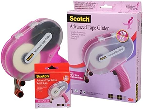 Scotch CAT 085 Advanced Tape Glider with 2 Rolls of 1/4-Inch by 36-Yard Acid Free Tape,Cure Pink