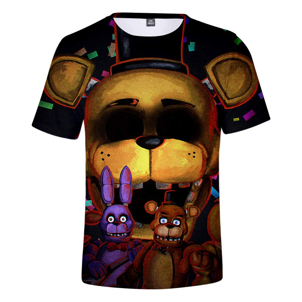 Boys Girls Youth 3D FNAF T Shirt Kids Active Sports Five Nights at Freddy's  T-Shirt