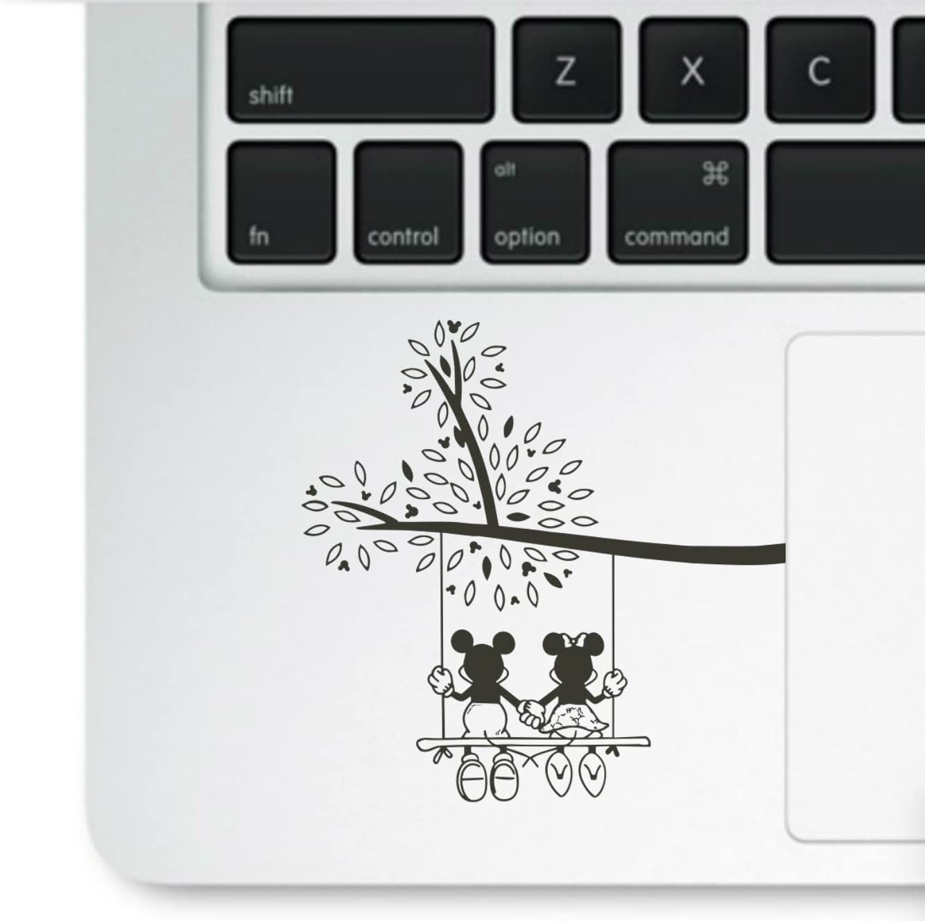 Decal & Sticker Pros Mouse on Swing Holding Hands Love Printed Clear Vinyl Decal Compatible with All Apple MacBook Pro, Retina, Air, Laptop Trackpad Sticker Decal