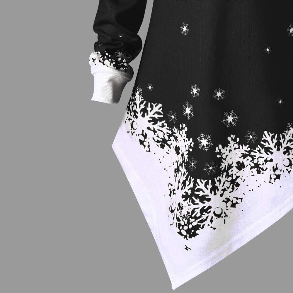SEWORLD Frohe Weihnachten Weihnachtsmann Kapuzenpulli Damen Langarm Warmer Santa Snowflake Gedruckt Tops Schulterfrei Asymmetrisches Sweatshirt X1-Schwarz,42 DE//2XL CN