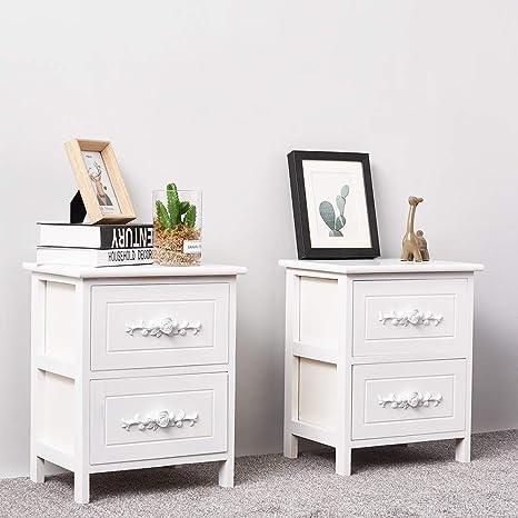 Newzeal White Wooden Bedside Table Set Of 2 Amazon De Kuche Haushalt