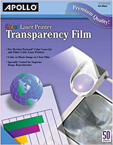 Apollo Transparency Film for Laser Printers, Color, 50 Sheets/Pack (VCG7070)