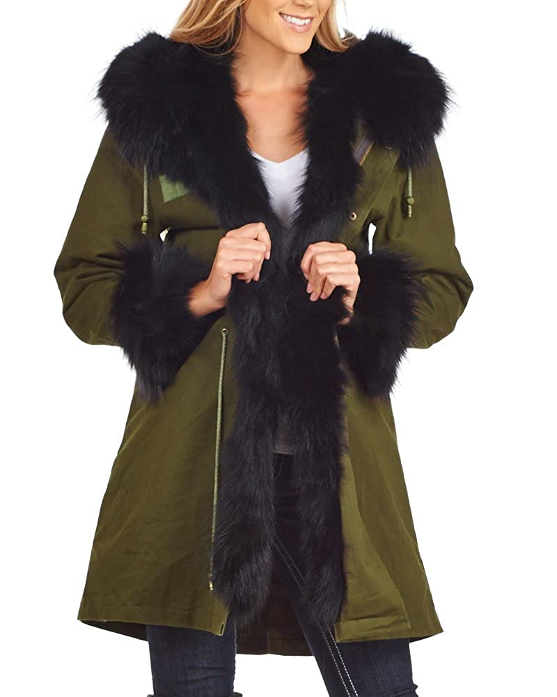 Black frr Fur Military Parka with Fur Cuffs & Hood