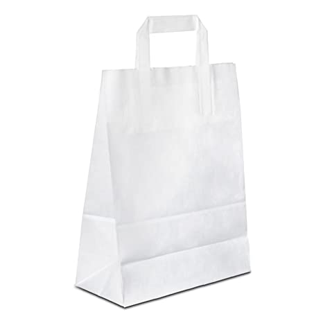 hutner bolsas de papel blanco 22 + 10 x 28 cm, estable ...