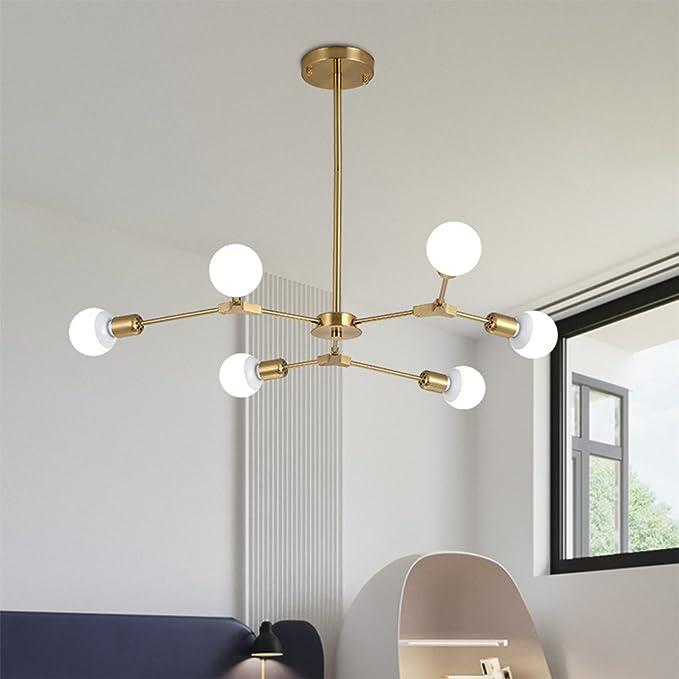 LED moderna E27 × de 6 focos Simplicidad creativos - Lámpara de techo Hierro personalidad burbujas Cristal Bola Magic Peas lámpara colgante DIY ...