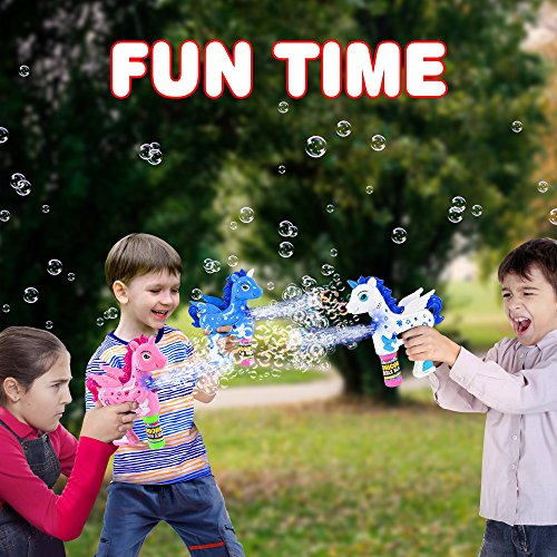 ArtCreativity Unicorn Bubble Blaster with Light and Sound | Includes 1 Bubble Gun & 2 Bottles of Bubble Solution & Batteries Installed, for Girls and Boys (Colors May Vary) by ArtCreativity (Image #5)
