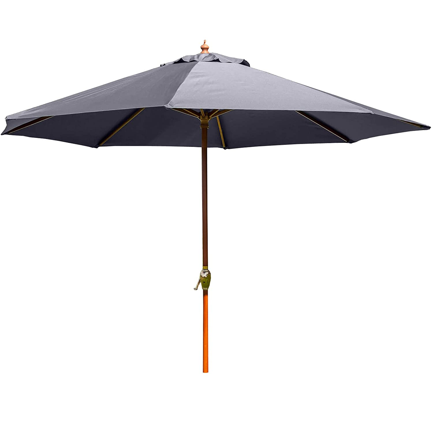 3m Wooden Wind up Garden Parasol Sun Shade Patio Outdoor Umbrella by Alfresia in a Choice of Colours (Grey)