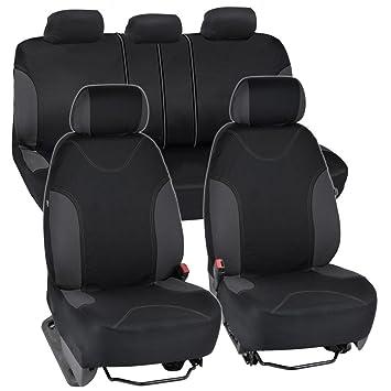BDK Charcoal Trim Black Car Seat Covers Full 9pc Set
