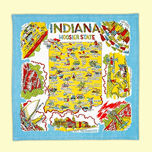 Indiana State Souvenir Dish Towel Souvenir Map