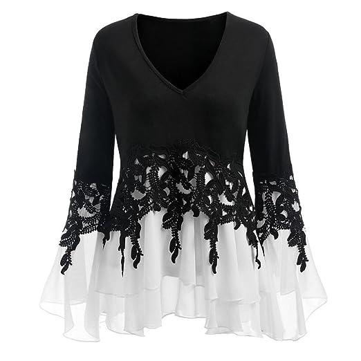 Teresamoon Womens Ladies Fashion Casual Applique Flowy V-Neck Chiffon Blouse Top