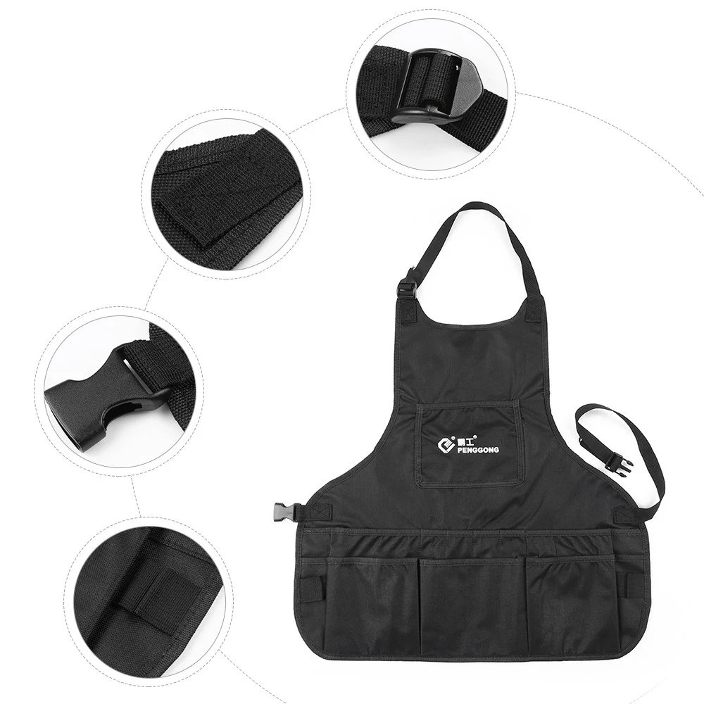 T-Trees Professional Canvas Work Apron with 14 Tool Pockets, Fully Adjustable, Waterproof & Protective, Black by T-Trees (Image #2)