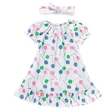 Niñas Vestido con Venda 2 Piezas Bebé Manga Corta Falda Impreso ...