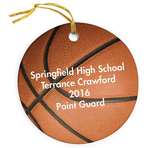 ChalkTalkSPORTS Personalized Basketball Porcelain Ornament | Basketball Ornament