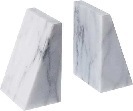 Fox Run Triangular 100 Natural Polished White Marble Bookends Home Kitchen
