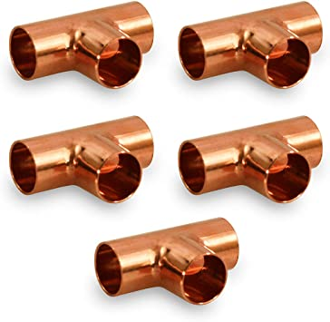 Supply Giant DDUF0012-5 Tee Copper Fittings With Sweat Ends 1 pack, 5 count 1//2