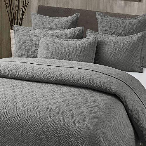 Calla Angel Evelyn Stitch Diamond Pure Cotton Quilted Pillow Sham 20 x 26, Gray, Standard ()
