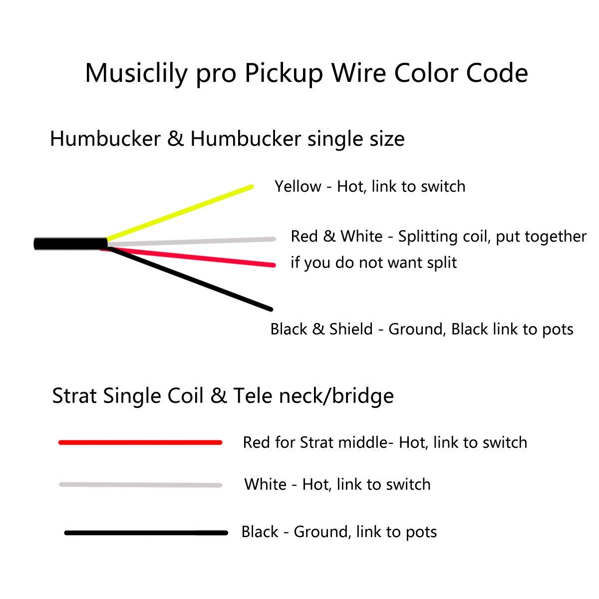Musiclily Pro Electric Guitar Dual Hot Rail Humbucker Telecaster Rails Wiring Diagram Neck Bridge Pickup Blade Single Coil Size Pickups For Fender Strat Stratocaster