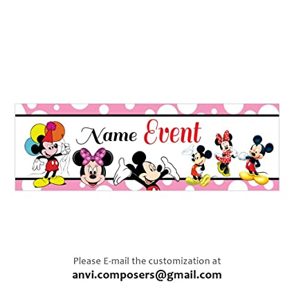 Personalised Mickey Minnie Theme Banner Poster Party Decorations