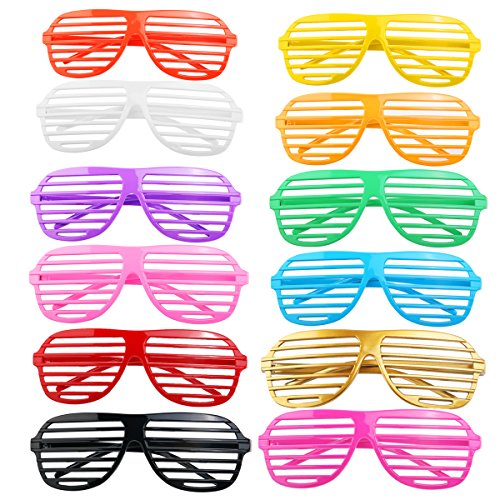 FENICAL Shutter Shades Glasses Slotted Glasses Halloween Club Party Cosplay Props 48 Pairs (Random -